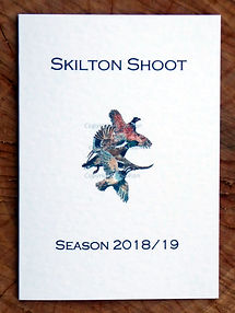 Bespoke shoot card showing the season along with pheasant, partridge and woodcock