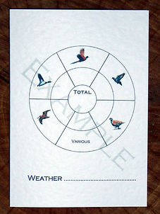 Bespoke personalised shoot card with bird wheel totals and weather