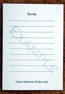 Bespoke personalised shoot card showing gun template with head keeper title