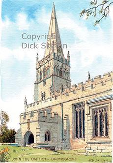 church artwork, watercolour, dick skilton, shropshire artist, shoot cards, game cards