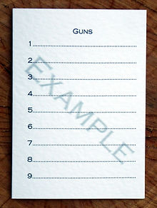Bespoke personalised shoot card showing 9 guns template page