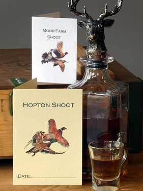 shoot cards, game cards, bag cards, pheasant cards, stag decanter, pheasant shoot, game shoot, grouse shoot, duck shoot, partridge shoot, shoot stationery