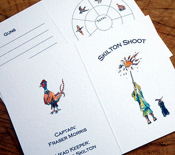 Pheasant cartoon, shoot card, game card, bespoke shooting cards. pheasant, labrador
