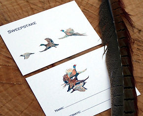 Shoot cards, shooting cards, bespoke personalised, pheasant, partridge, duck, guns, bag, quarry, game cards