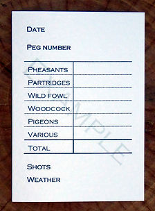 Bespoke personalised shoot card showing bag totals, peg number, shots total and weather