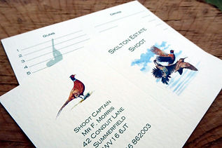 shoot card, game card, bespoke design, pheasant, partridge, woodcock, gun