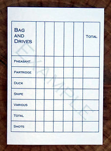 Bespoke personalised shoot card showing a bag and drive grid for game shooting