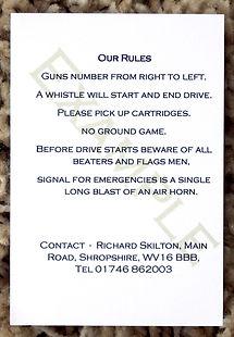 Bespoke personalised shoot card rule template pheasant partridge duck woodcock pigeon