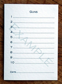 Bespoke personalised shoot card showing 10 guns and the date