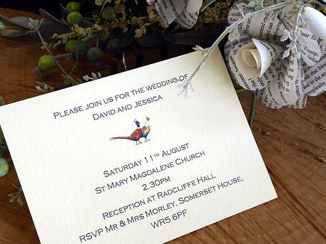 pheasant wedding, shoot wedding, pheasan invitiation, pheasant paper flower bouquet, pheasant bouquet, game cards, shoot cards