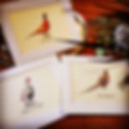 shot cards, gamebird print, wedding table names, pheasant print, pheasant artwork, pheasant wedding,