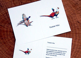 pheasant thank you card, pheasant wedding, shoot stationery, shoot cards, game cards