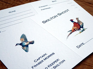 This is a collection of bespoke shoot cards, game cards, pheasant, partridge, shoot dinner, pheasant shoot
