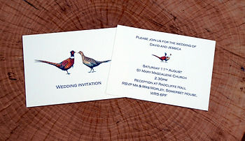 Pheasant wedding invitiation, shoot cards, game cards, pheasant wedding stationery, game bird