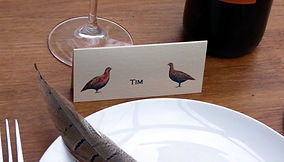 bespoke wedding stationery, pheasant name place card, shoot cards, game cards