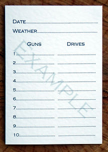 Bespoke personalised shoot card showing 10 guns and drive templates along with the date and weather