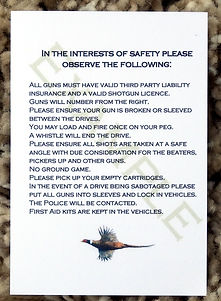 Bespoke personalised shoot cards rules template pheasant