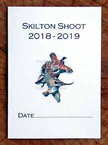 Example of a bespoke shoot card with the season, date and flying pheasant, duck and partridge