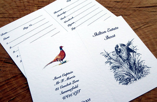 bespoke shoot cards, game cards, pheasant, gun dog, personalised