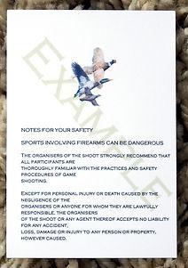 Bespoke personalised shoot card rule template pheasant duck partridge woodcock pigeon