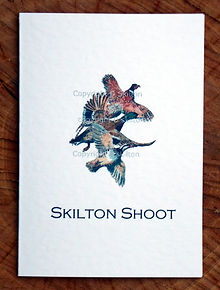 Bespoke shoot card with a pheasant, duck and partrige