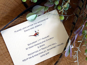 pheasant themed wedding, shoot themed wedding, pheasant invitiations, shoot cards, game cards, bag cards, pheasant cards, paper flowers