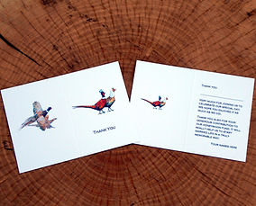 Pheasant weddng invitiation, shoot card, thank you card, game cards