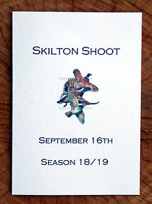 Bespoke shoot card showing the game season with three flying birds. Pheasant, duck and partridge