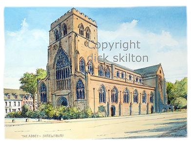 shrewsbury abbey, church artwork, watercolour, dick skilton, shropshire artist, shoot cards, game cards
