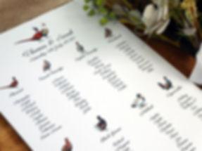 pheasant wedding table plan, pheasant wedding seating plan, game bird seating plan, gamebird table plan, shoot wedding stationery, pheasant wedding stationery, gamekeeper wedding