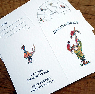 Shoot cards, game cards, pheasant cartoon, gun cartoon, bespoke shoot cards