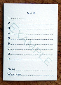 Bespoke personalised shoot card showing 9 guns template with date and weather