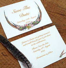 pheasant feather save the date card. shoot wedding stationery, shoot cards, game cards