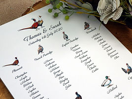 gamebird table plan, gamebird seating plan, pheasant tabl plan, pheasan seating plan, gamekeeper wedding stationery, pheasant wedding stationery