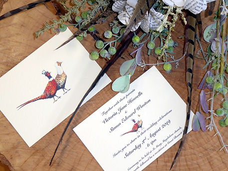 pheasant wedding invitation, pheasant feather bouquet, shoot wedding, pheasant wedding, game cards, shoot cards