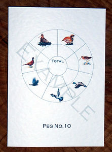 Bespoke personalised shoot card with a bird wheel, totals and peg numbers