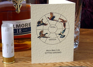Bespoke, personalised, shoot cards, shooting cards, pheasant, duck, partridge, guns, game cards