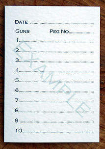 Bespoke personalised shoot card showing 10 guns tempate with date and peg number