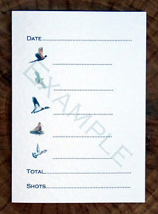 Bespoke personalised shoot card showing bag or quarry totals and bird pictures. pheasant, partridge, duck, pigeon, woodcock