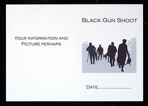 shoot card bespoke personalised silhouette artwork pheasant partridge guns, shoot cards, game cards