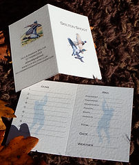 Personalised bespoke high quality shoot card or game card featuring 3 birds, pheasant shoot