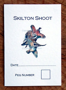 Bespoke shoot card with date, peg number, pheasant, partridge and duck