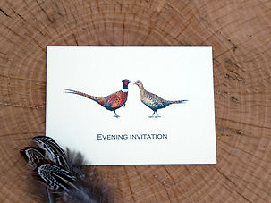 Pheasant wedding stationery, shoot cards, game cards