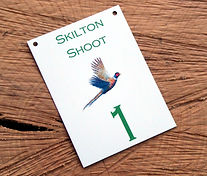 bespoke metal weatherproof peg card for game shoots andpheasant shooting