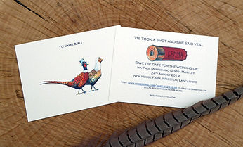 Save the date card, pheasant, he took a shot and she said yes, shoot card, shoot stationery, game cards