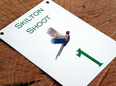 bespoke metal weatherproof peg signs for game shoots and pheasant shooting