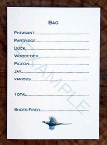 Bespoke, personalised shoot card showing bag or quarry totals along with pheasant