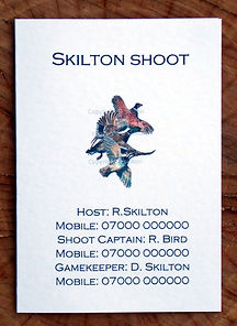 Bespoke shoot card showing shoot captain, gamekeeper and host details along with pheasant, duck and partridge