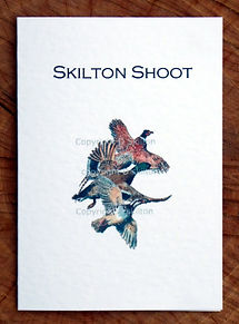Bespoke shoot card with three flying birds. pheasant, duck and partridge. All can be personalised