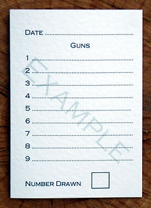 Bespoke personalised shoot card showing 9 guns template along with sweepstake number and date
